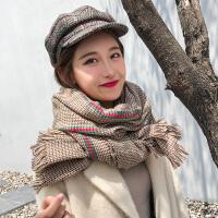 韩版毛线围巾女秋冬季加厚学生围脖百搭保暖英伦千鸟格子披肩两用
