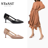 St&Sat/星期六春季新款细高跟镂空单鞋猫跟鞋女鞋SS01114020
