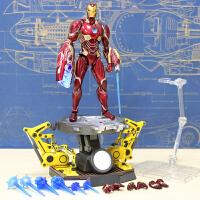 漫威钢铁侠MK50模型玩具公仔关节可动 可发光纳米 shf钢铁侠MK50 拆甲地台 送小可乐和支架