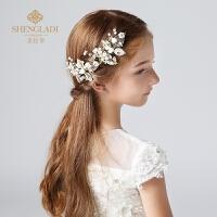 儿童发夹韩式淑女可爱女孩公主水钻珍珠大蝴蝶结边夹