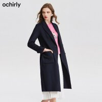 [9月12日3件7折到手价:565元]ochirly欧时力新女装系带长羊毛薄呢双面呢大衣外套1JY3343440
