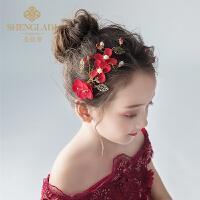 儿童发夹头饰红色网红发饰韩式森女系少女头花饰品