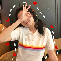 洛丽塔Lolita韩版彩虹条纹POLO领针织衫2019夏季女装新款宽松百搭短袖T恤上衣 均码
