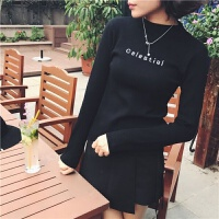 秋冬女装韩版百搭刺绣毛衣半高领套头修身长袖上衣针织打底衫 S 建议65-85斤