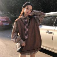 长袖格子衬衫针织毛衣背心秋季套装女学生韩版宽松马甲两件套潮冬 S 90斤以下