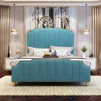 北欧实木家具轻奢床头柜1.8米双人1.5米单人真皮床榻榻米软床批发