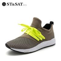 【3折再减80】ST&SAT/星期六布尖头低跟套脚绑带春单鞋男 SS71129821