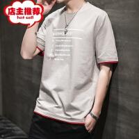 男士短袖t恤潮牌打底衫圆领纯色体恤潮流修身半袖夏季男装上衣服 1927 卡其