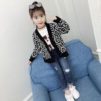 女童针织开衫外套2018新款韩版V领时尚儿童秋装洋气长袖毛衣潮衣
