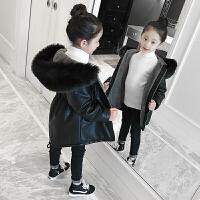 儿童皮衣外套2018新款加绒加厚中长款大衣女孩pu皮棉服