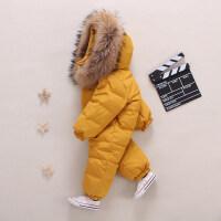婴儿羽绒服连体衣宝宝幼儿男女童外出冬季抱衣加厚保暖哈棉衣