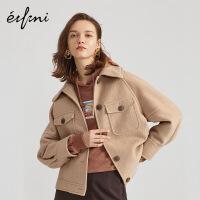 伊芙丽外套女新款韩版宽松时尚气质单排扣工装风短外套1A9910171
