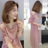 欧洲站女装2019夏新款欧货潮时尚一字肩粉色裙子很仙的雪纺连衣裙