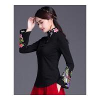 中国风刺绣上衣 民族风女装秋装立领绣花修身长袖T恤女大码打底衫
