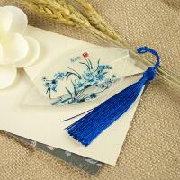 青花瓷叶脉书签天然树叶古典中国风礼盒创意手工艺复古礼品送老外D