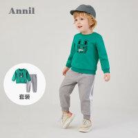 【2件3折价:89.7】安奈儿童装男宝宝卫衣套装2020新款小孩洋气上衣裤子运动两件套春