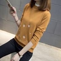 毛衣女秋冬装套头针织衫打底衫韩版宽松百搭半高领上衣假两件