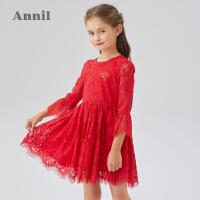 【活动价:324】安奈儿童装女童连衣裙2020春季新款女宝宝甜美九分袖打底公主裙子