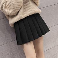 韩观毛呢百褶裙女高腰A字弹力短裙学生外穿打底裙秋冬韩版黑色半身裙