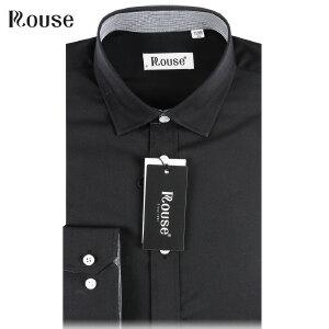 洛兹男正品15年新款商务正装涤棉长袖纯黑色衬衫春夏款LM15122-01