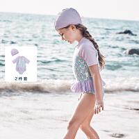 【2件4折】迷你巴拉巴拉女童泳衣2020夏季新款女宝宝连体泳衣印花弹力游泳