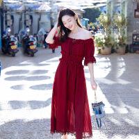 【好货推荐】 夏季新款女装超仙雪纺连衣裙红色气质长裙海南三亚海边度假沙滩裙 酒红色 XZ18D1713