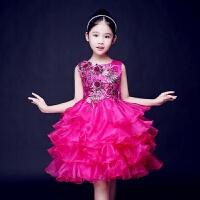 儿童演出服女童礼服公主裙蓬蓬裙花童主持人钢琴表演模特走秀红色 枚红色