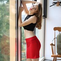 性感黑色漏背紧身包臀短裙情趣内衣诱惑挂脖透视激情套装SM 均码