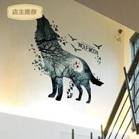 楼梯走廊墙面装饰贴画卧室客厅背景墙壁自粘墙贴可移除纸狼的月亮SN4245 狼的月亮 大