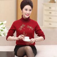 妈妈高领加绒毛衣女秋冬装40-50岁中年加厚打底衫老年人长袖上衣 M 建议105斤内穿