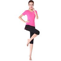 瑜伽服女夏季新款广场舞服装拉丁舞套装演出服莫代尔短袖套装