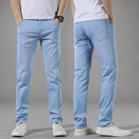 薄款浅蓝色牛仔裤男夏季冰丝超薄直筒修身简约有弹性浅色淡色休闲