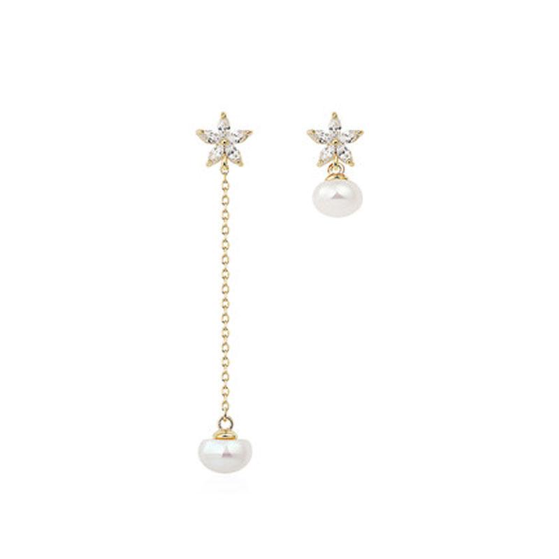女士气质小耳垂适合的耳钉耳坠耳饰925银淡水珍珠耳环