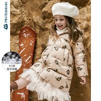 【年终狂欢 2件4折价: 240】迷你巴拉巴拉儿童羽绒服女童连帽羽绒外套2019冬装新款茧型外套