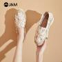 jm快乐玛丽2021新款厚底松糕草编渔夫鞋一脚蹬百搭帆布鞋女鞋