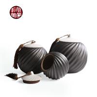 陶瓷装茶叶罐中号半斤装粗陶大号一斤储茶罐子复古