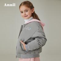 【3件3折�A估券后�r:142元】安奈�和��b女童棉服冬�b新款中大童短款�B帽棉衣外套Y