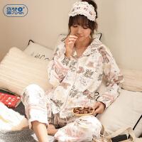 宫廷公主风睡衣女秋韩版卡通纯棉长袖可爱两件套装开衫家居服春秋