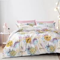富安娜出品 圣之花床上用品40支纯棉被套印花床单双人四件套
