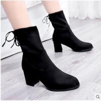 马丁靴女秋百搭潮款短靴韩版百搭弹力靴方头短筒靴高跟女靴子