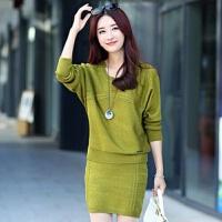 秋冬连衣裙两件套韩版蝙蝠袖毛衣女打底包臀短裙套装一步裙针织衫 S 建议85-95斤