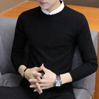 假两件毛衣男针织衫秋冬季长袖纯色打底衫韩版带假衬衫领男士上衣