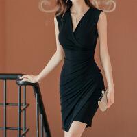 【新品特惠】 黑色修身性感包臀v领无袖连衣裙2019夏季新款气质女人味紧身裙子 黑色