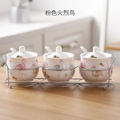 收纳陶瓷调味罐厨房用品家用调料盒套装组合装调料瓶三件套油盐罐