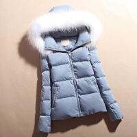 韩版加厚小款短款羽绒服女大毛领纯白鸭绒外套女冬款白色修身