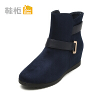 【达芙妮年货节】Daphne/达芙妮旗下鞋柜 冬款欧美简约女靴圆头中跟坡跟短靴女鞋