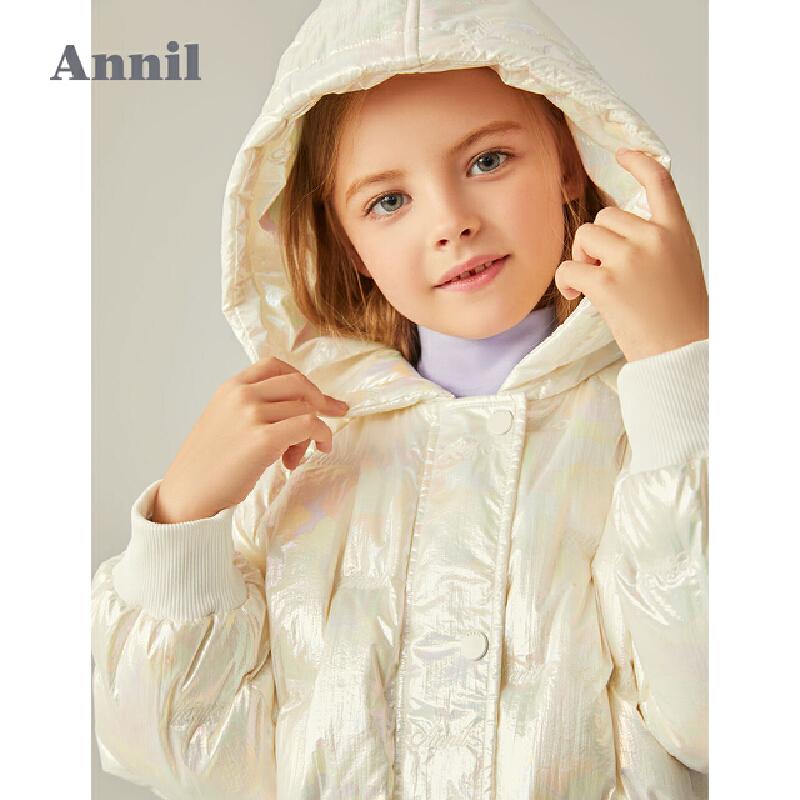 【2件4折预估券后价:486】安奈儿童装女童羽绒服加长款2020冬装新款洋气幻彩中大童保暖外套 幻彩发亮的面布+胆布,一体式直充面料