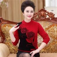 妈妈装秋冬装毛衣外套50岁中老年女装打底衫中年女士印花高领毛衣 XL 建议100-115斤