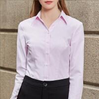 白色衬衫女士长袖2019春夏新款V领职业正装工作服时尚韩版范寸衣