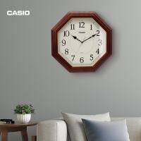 卡西欧(CASIO)挂钟客厅挂表卧室办公静音实木钟表石英钟IQ-123S